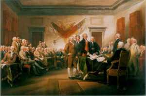 Jonathan Trumbull signing the Declaration of Independence