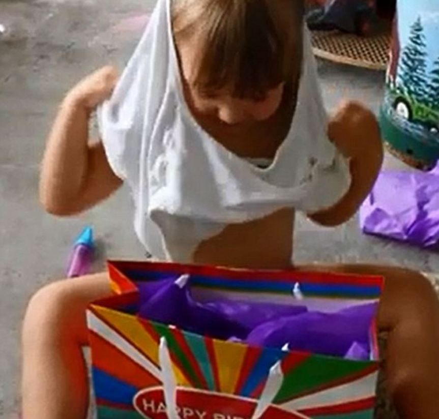 'Oh my gosh, it's beautiful' Adorable child politely thanks mother despite terrible men's underpants gift